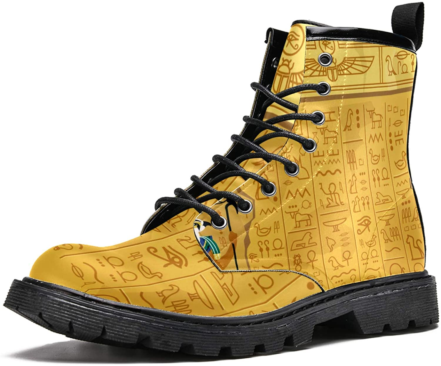 LORVIES Egypt Hieroglyphic Men's High Top Boots Lace Up Casual Leather Ankle Shoes