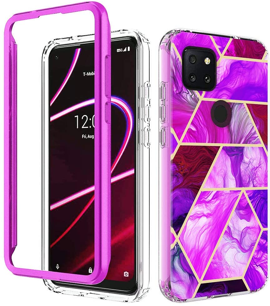 iRunzo Marble Cases for TCL Revvl 5G Cover (Metro/T-Mobile) 2 in 1 Soft TPU + PC Bumper 360° Full Body Protect (Purple)