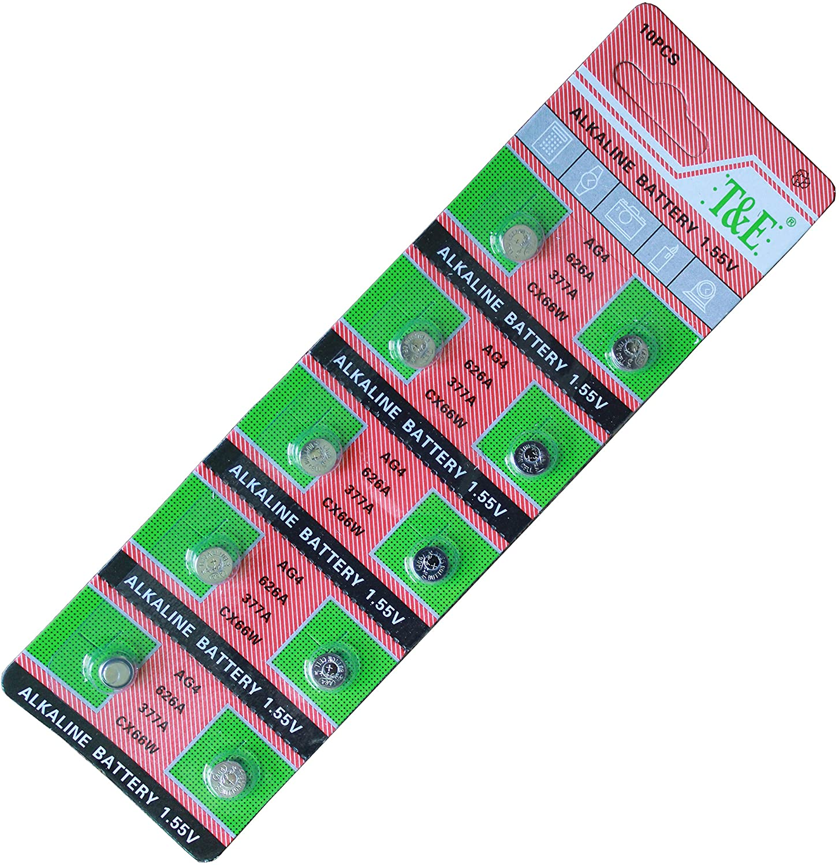 New T&E 10Pcs Ag4 Lr626 377 Sr626Sw Alkaline Battery