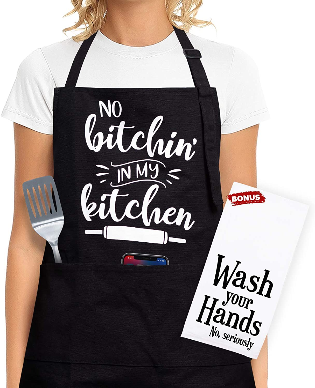 Funny Cooking Apron For Women - Funny Cooking Gifts For Women Who Love To Cook, Gift Aprons For Women With Pockets - Funny Kitchen Aprons For Women, Funny Gifts For Women Birthday, Funny Gifts For Mom
