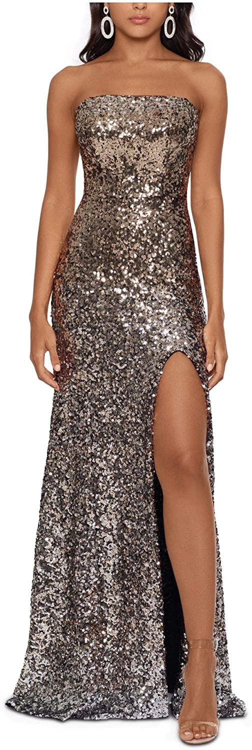Betsy & Adam Womens Gold Sequined Sleeveless Sweetheart Neckline Full-Length Fit + Flare Formal Dress Size 4