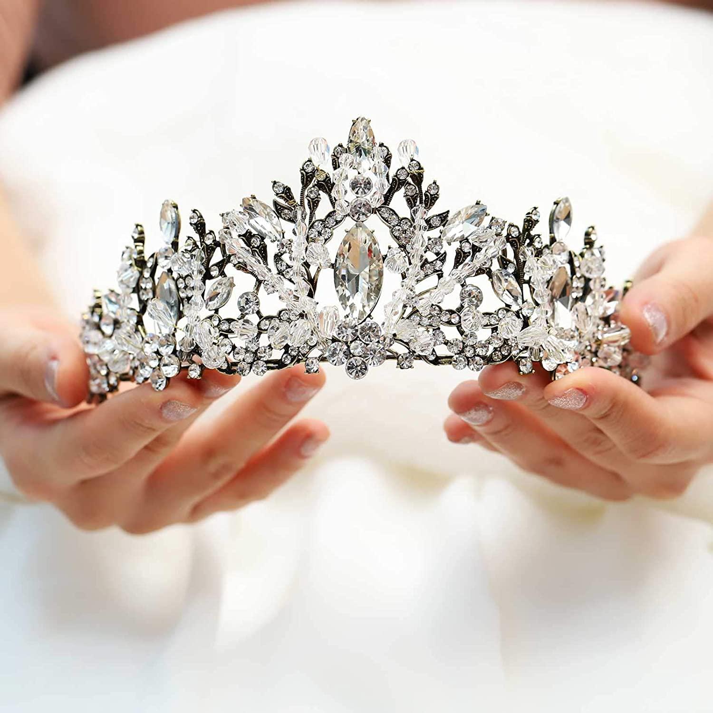 Yean Vintage Wedding Crowns and Tiaras Rhinestones Gold Bridal Crown Headband Hair Accessories for Bride and Bridesmaid