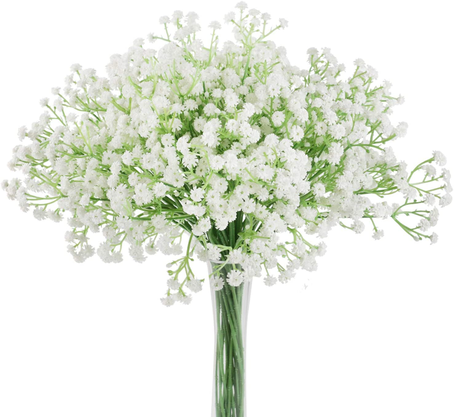 Aonewoe 12 Pcs Baby Breath Artificial Flowers Bulk Real Touch Gypsophila Bouquets for Centerpiece Arrangements Wedding Home Decoration(12Pcs,White)