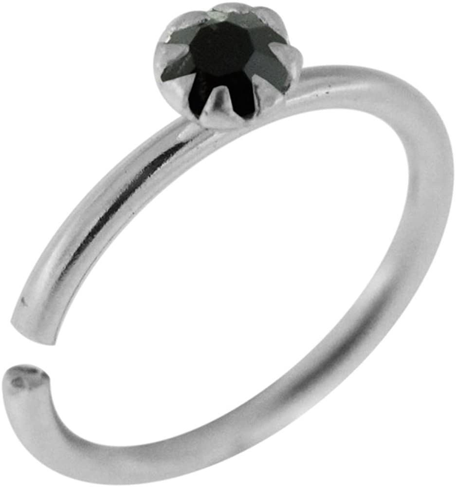 AtoZ Piercing Crystal Stone Flower Set Top on 20 Gauge 925 Sterling Silver Open Hoop Nose Ring Jewelry