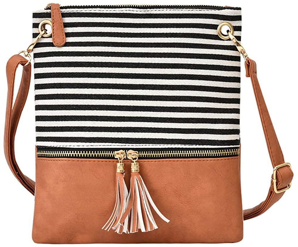 Stripe Crossbody bag,Lightweight Medium Crossover Purse,canvas + Faux leather women Shoulder bag with tassel