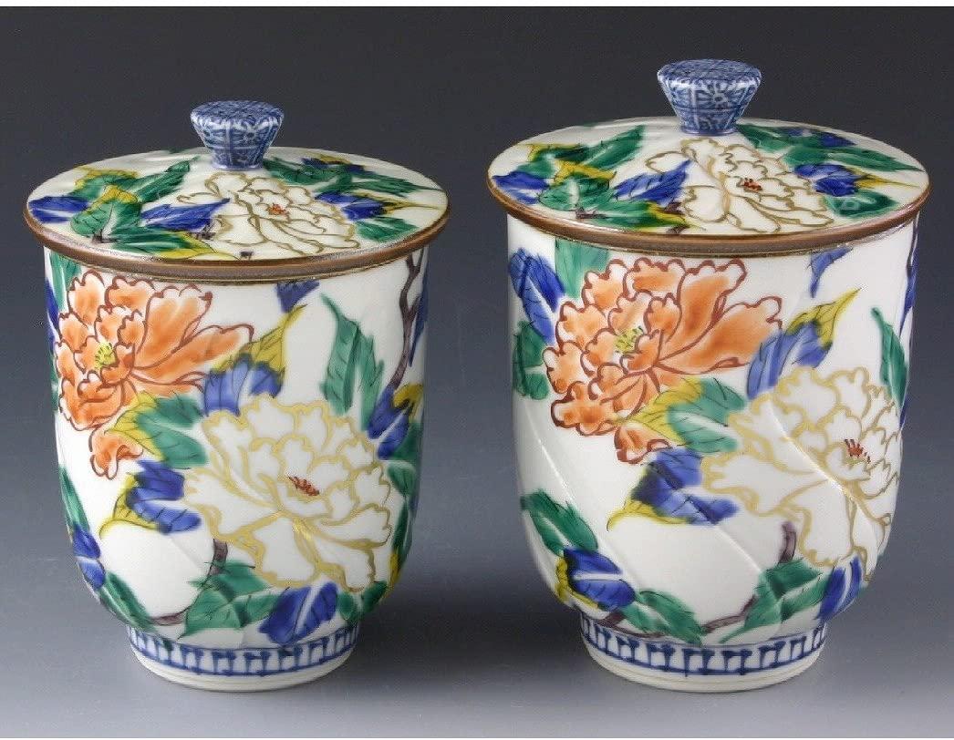 Kiyomizu-kyo yaki. Set of 2 Teacups Peony Yunomi with a cover. wooden box. Porcelain. kymz-UIJ151