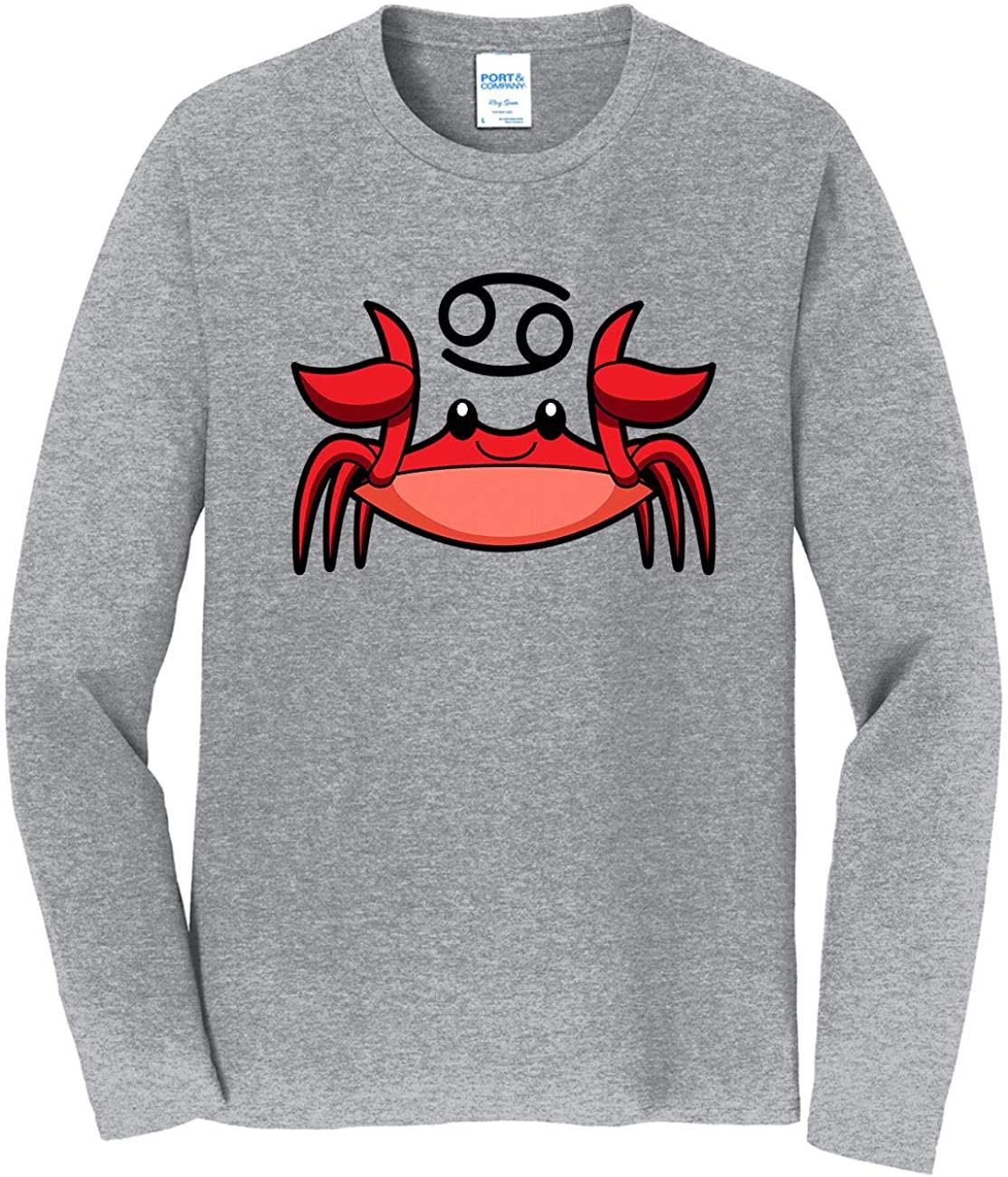 HARD EDGE DESIGN Mens Chibi Cancer Long Sleeve T-Shirt, 5X-Large, Heather Gray