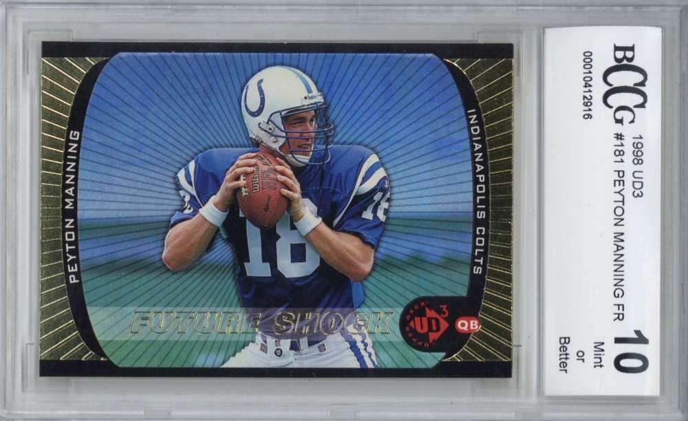 Peyton Manning 1998 Upper Deck UD3#181 Football Rookie Card Beckett BCCG 10