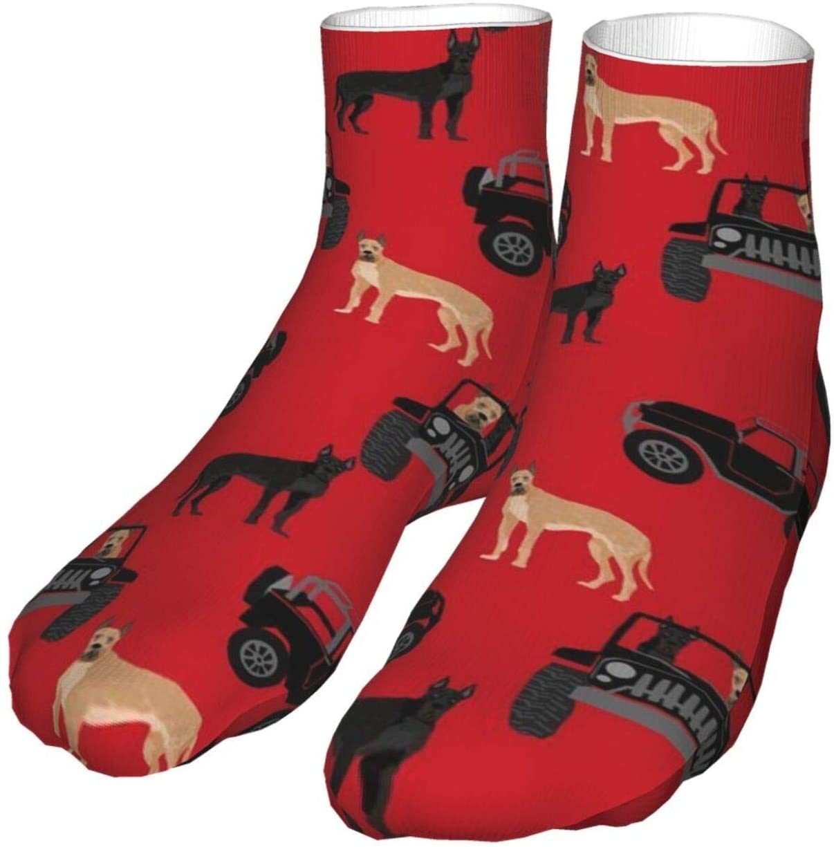 antcreptson Great Dane in Jeeps Cute Dogs Black and Red Athletic Hiking Crew Socks Womens Mens Socks Soft Thick Cozy Warm Casual Compression Socks