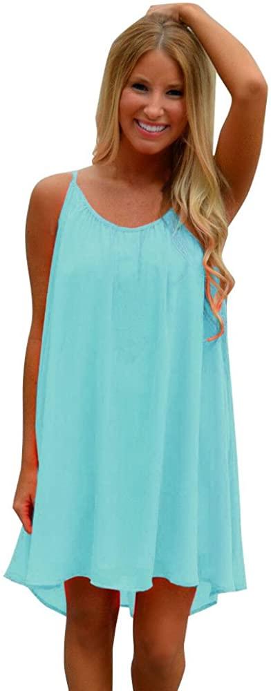 MANDDI Women Summer Dresses, Sexy Color Bright Fashion Spaghetti Strap Back Hollow Out Summer Chiffon Beach Short Dress