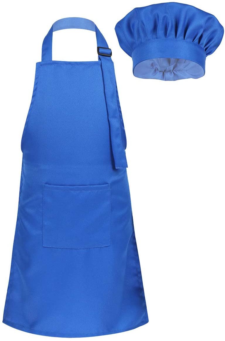 YiZYiF Kids Boys' Girls' Apron and Chef Hat set Soft Adjustable Neck Strap Kicthen Cooking Baking Wear Kit Blue(Apron+Hat) M(for 4-8 Years)