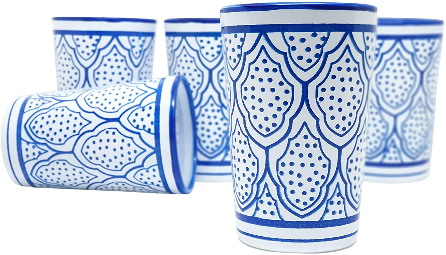Nomad Treasure's Jinan set of 6 luxury handmade and painted Moroccan tea glasses. Blue