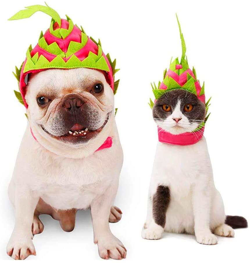 Yu-Xiang Dragon Fruit Pet Hood Dog Fruit Turned Hat Cat Halloween Turban Pet Funny Costume (S)