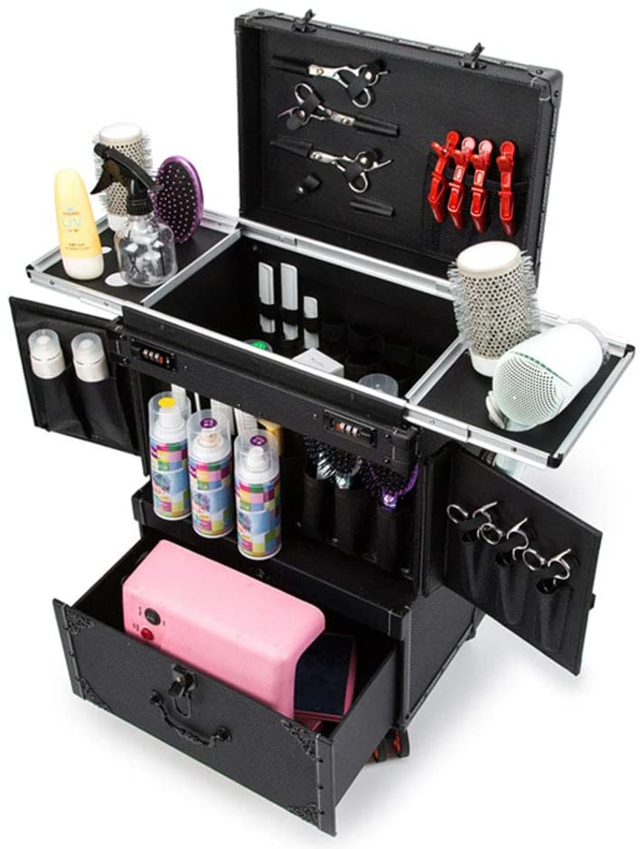DXWBAG Makeup Organizer Makeup Beauty Nail Case Cosmetics Trolley Bag Box for Barber Stylist Cosmetician