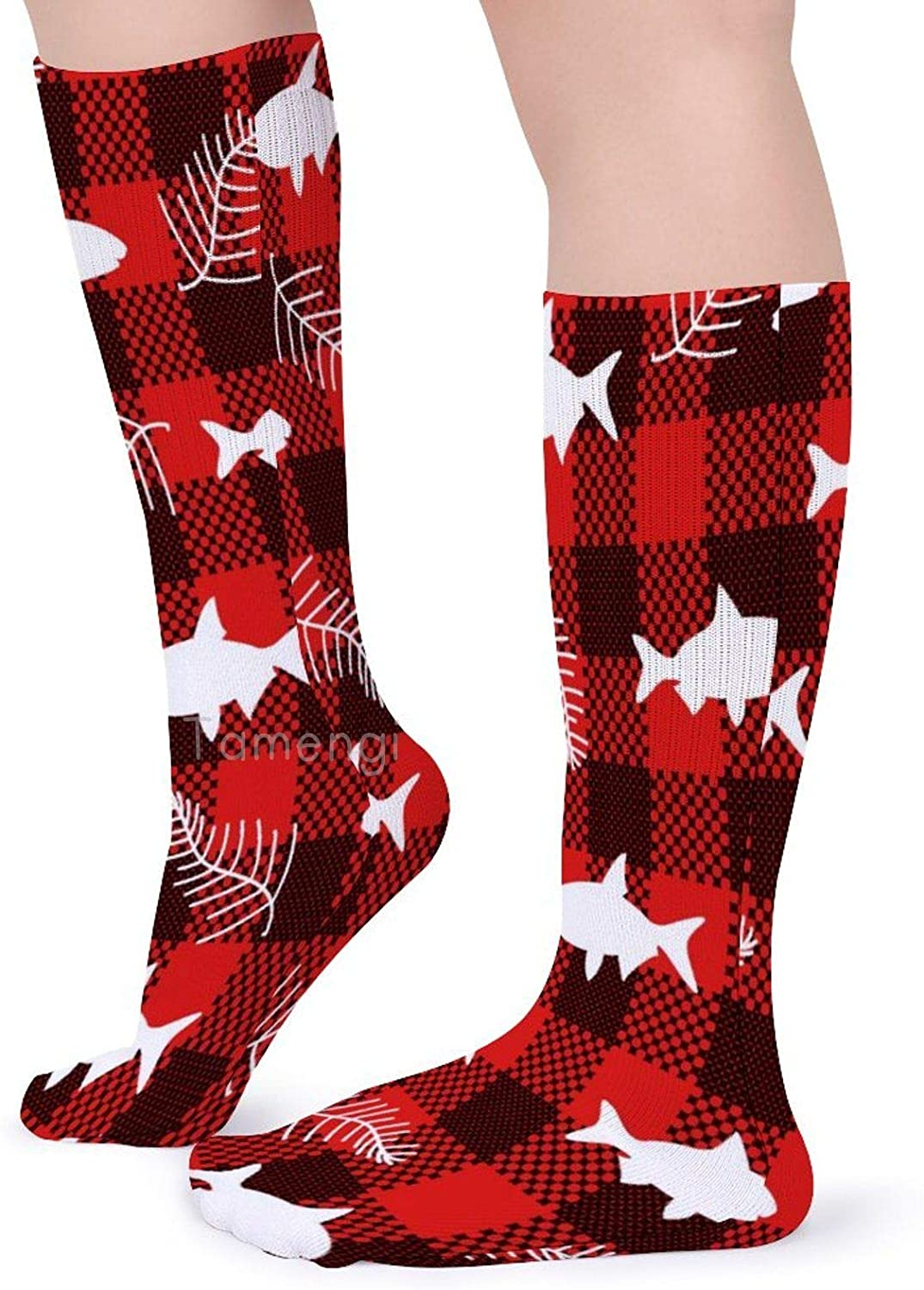 Classics Personalized Long Tube Stockings Buffalo Plaid Fish Leaves Crew Socks 15.7inch One Size Athletic Stockings for Men Women