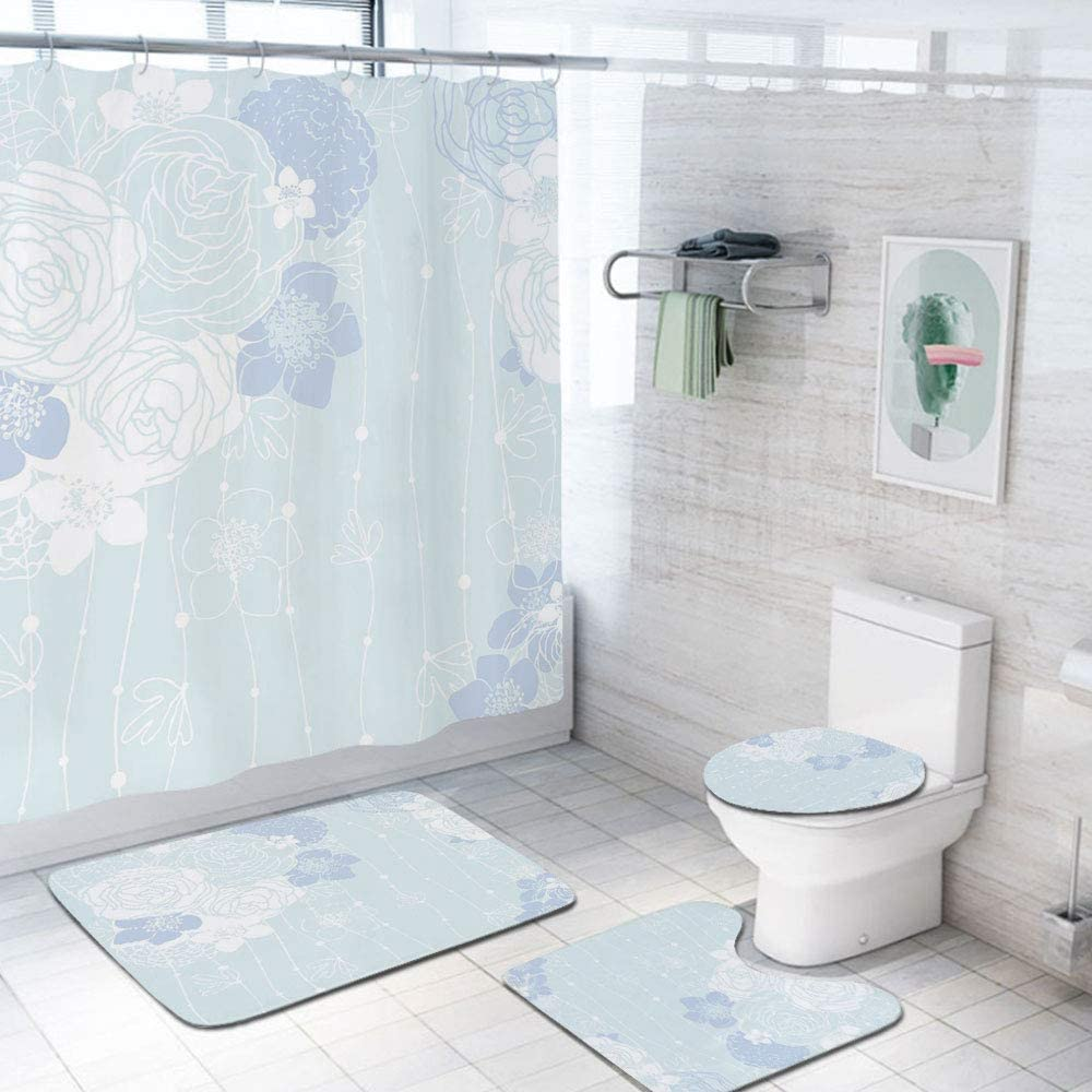 Light Blue 69x84 inch Shower Curtain Sets,Victorian Style Bridal Bouquet Corsage English Roses Floristry Decorative Toilet Pad Cover Bath Mat Shower Curtain Set 4 pcs Set,Light Blue Lavander White