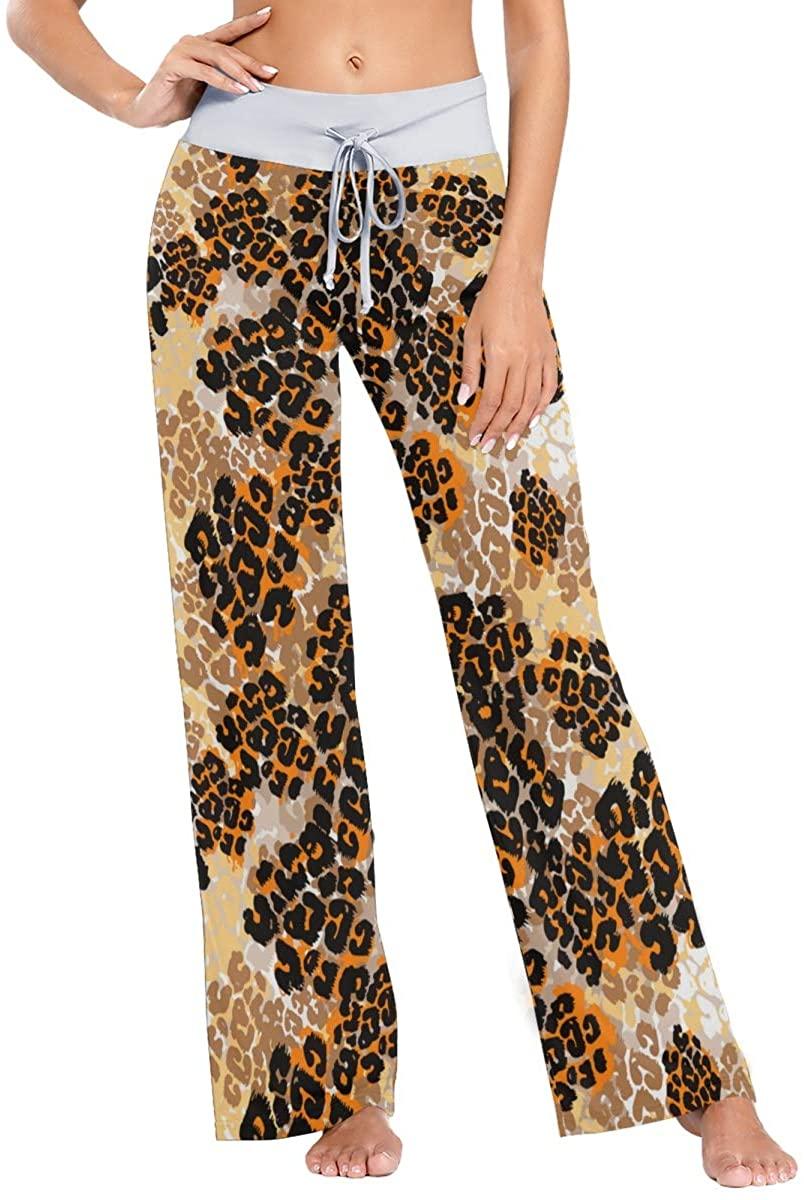 VVIEER Brushpen Textile Leopard Pattern Print Womens Sleepwear Loose Palazzo Casual Drawstring Yoga Pants