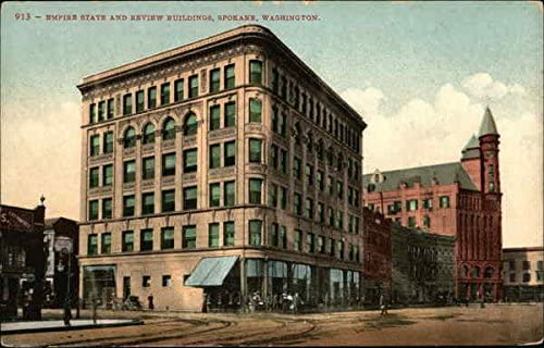 Empire State And Review Buildings Spokane, Washington WA Original Vintage Postcard