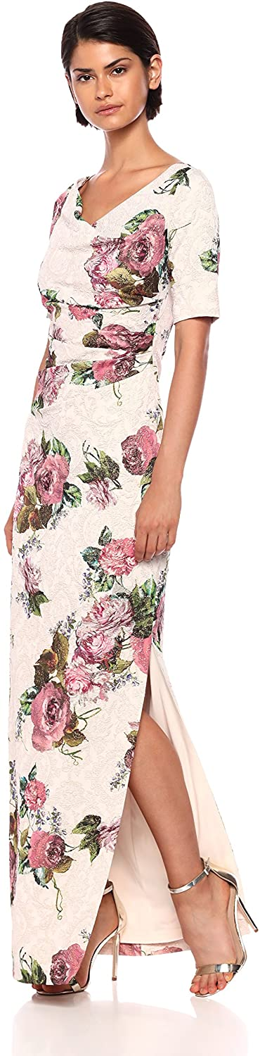 Adrianna Papell Women's Long Printed Floral Draped Dress