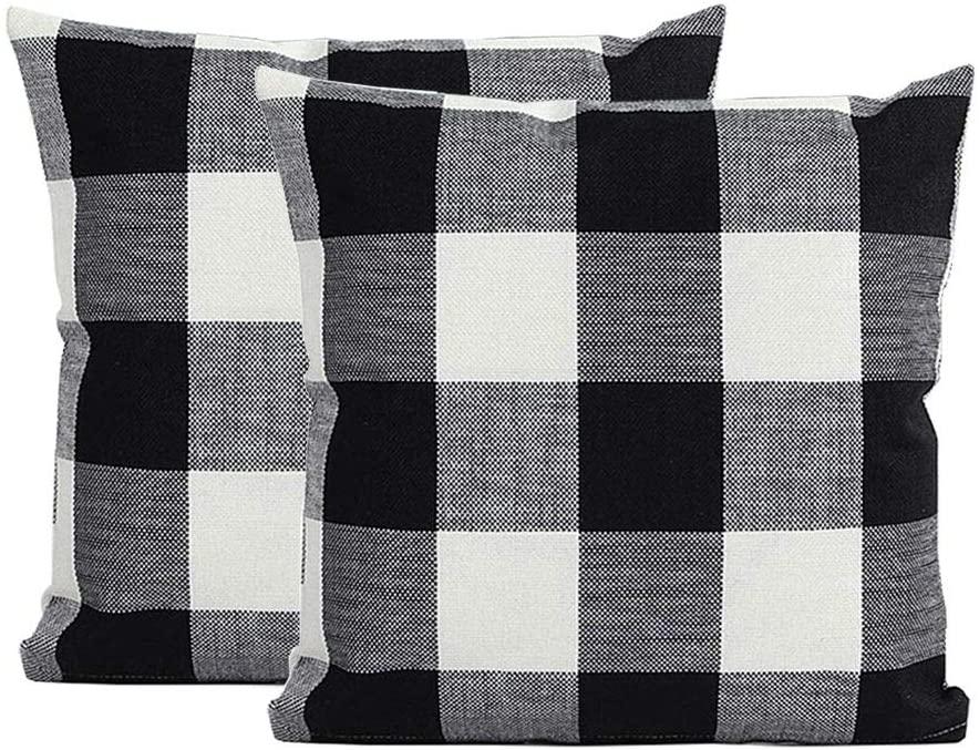 GUHOO Classic Checkers Plaids Cotton Linen Soft Soild Decorative Square Throw Pillow Covers Home Decor Design Cushion Case for Sofa Bedroom Car 18 x 18 Inch 45 x 45 cm, Set of 2 (Black White, 18