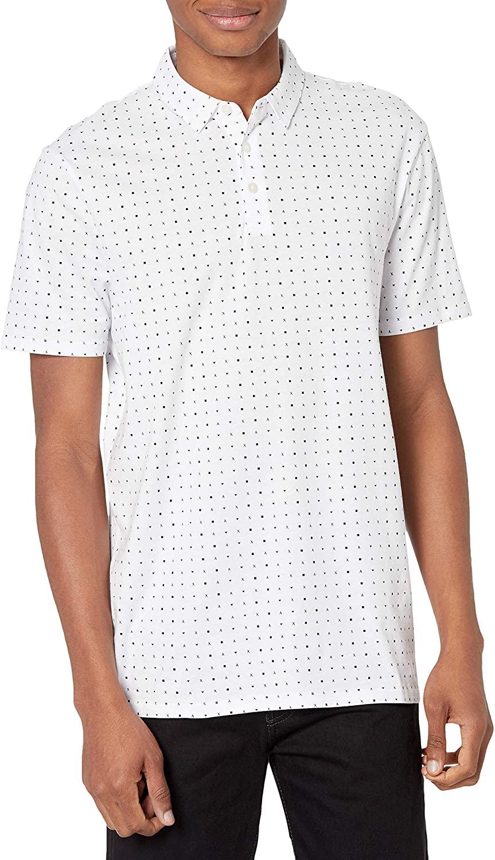 AX Armani Exchange Men's Short Sleeve Micro Ax Ditsy Print Polo Shirt