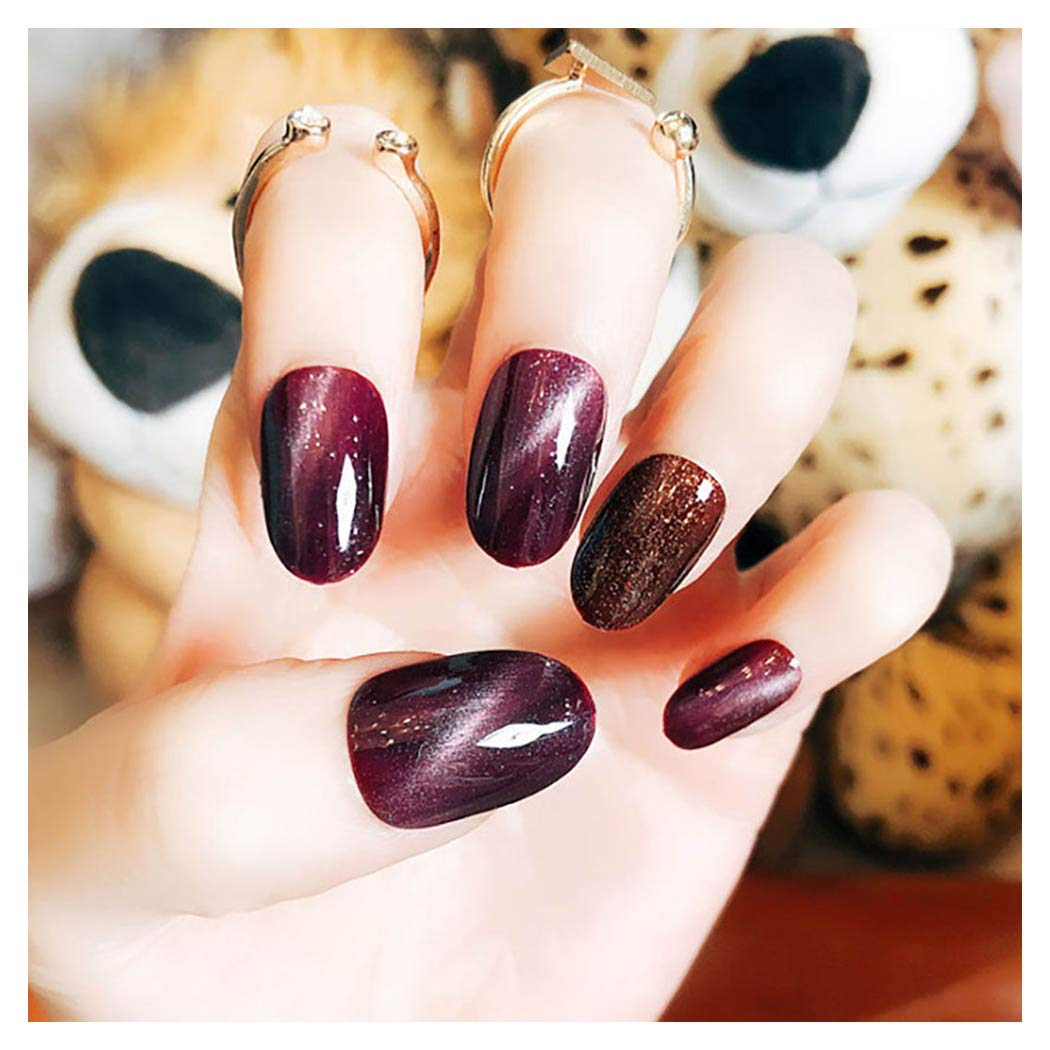 Kakaco Cat Eye Glossy Fake Nails 24pcs Purple Glitter Full Cover Acrylic False Nails Party Prom Press Clip on Nails for Women and Girls (Purple)