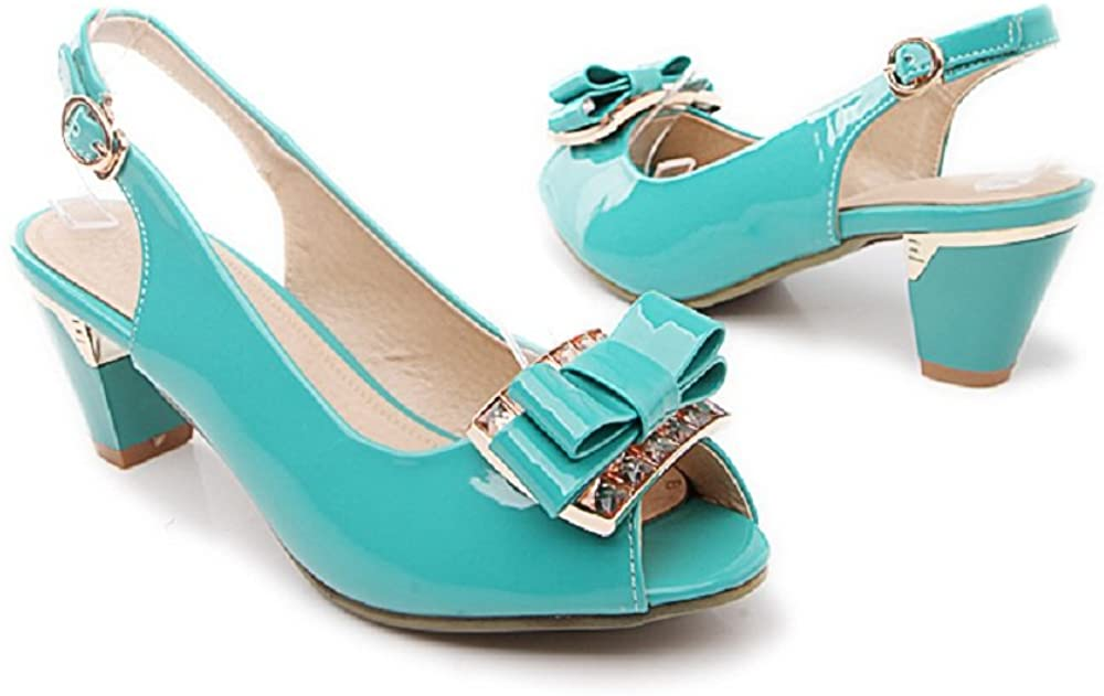 Women Sweet Peep Toe Chunky Mid Heel Bowknot Dress Sandals Casual Slingback Pumps Work Shoes