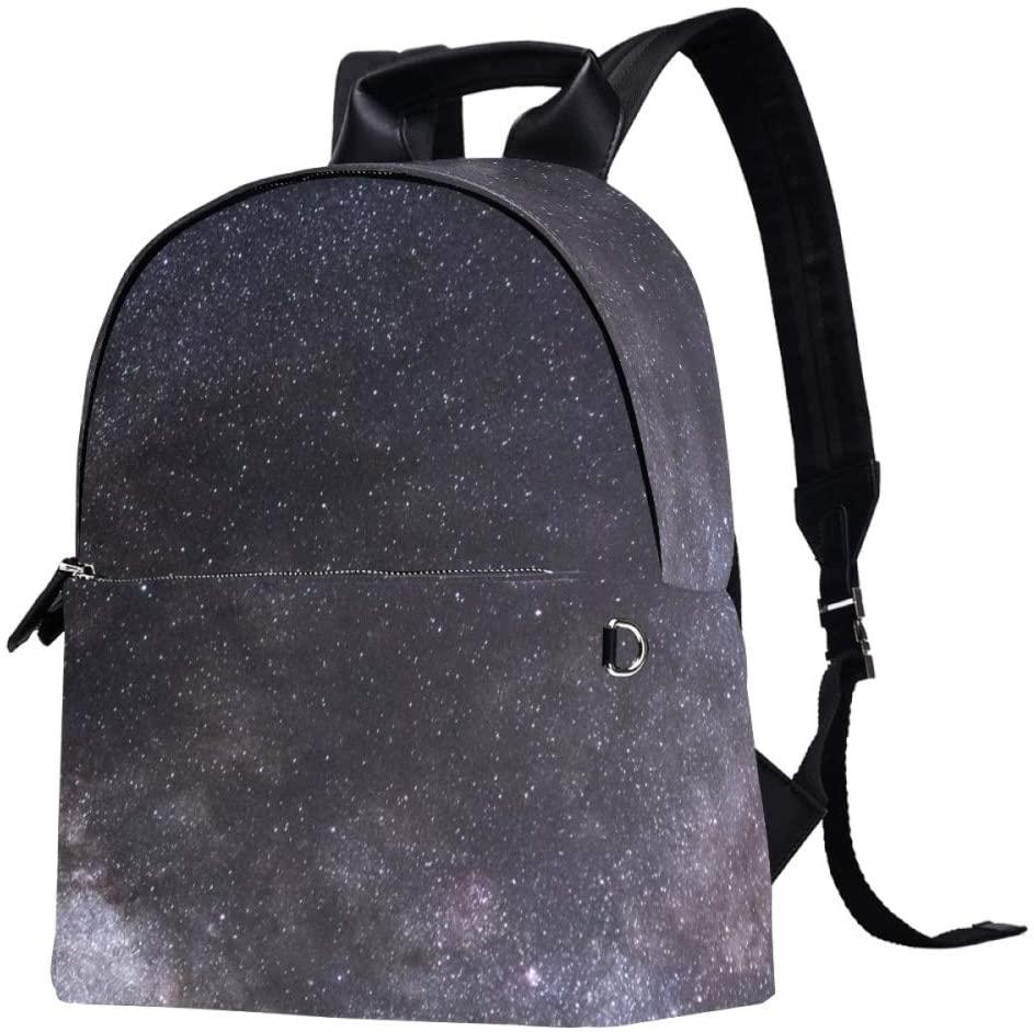 Starry Sky Backpack Lightweight Canvas Leather Daykpack School Bag Cute Printng Travel Shoulder Bookbags Leaf Black