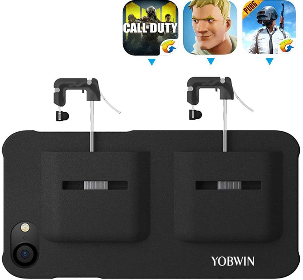 Mobile Game Controller Case for iPhone 8 Plus / 7 Plus / 6 Plus, Phone Cover Compatible with PUβG/COD Mobile L1R1 Trigger Joystick Gamepad Grip Remote, for Apple iOS (5.5 inch Black)