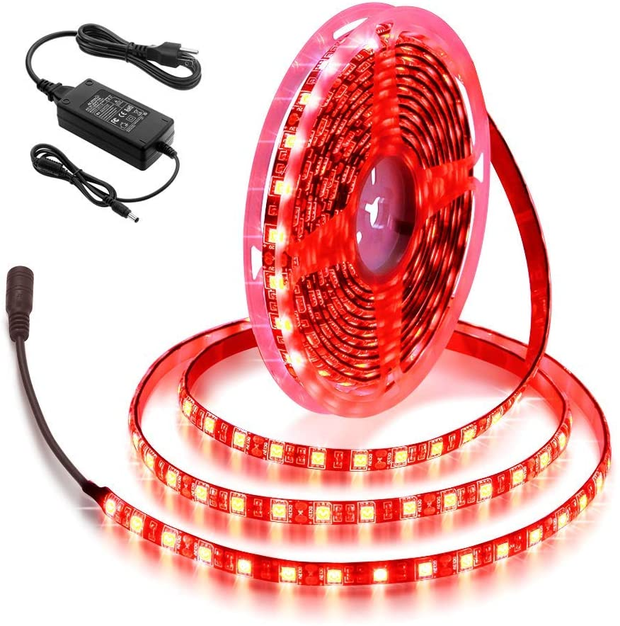 ALITOVE Red LED Strip Lights Waterproof IP65 16.4ft 300 LEDs 5050 SMD with 12V Power Supply for Kitchen Backyard Deck Bar Counter Boat Decoration Lighting