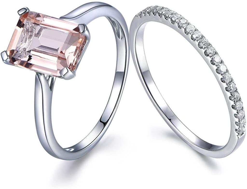 7x9mm Emerald Cut Peach Pink Morganite Wedding Ring Set,Plain Band 14k White Gold,Diamond Promise Bands