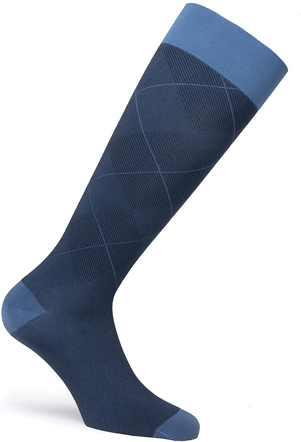 JOBST Casual Pattern Compression Knee High Socks, Closed Toe, 30-40 mmHg Extra Firm Support for Swollen Legs, Ocean Blue, Size: Small, Regular Length