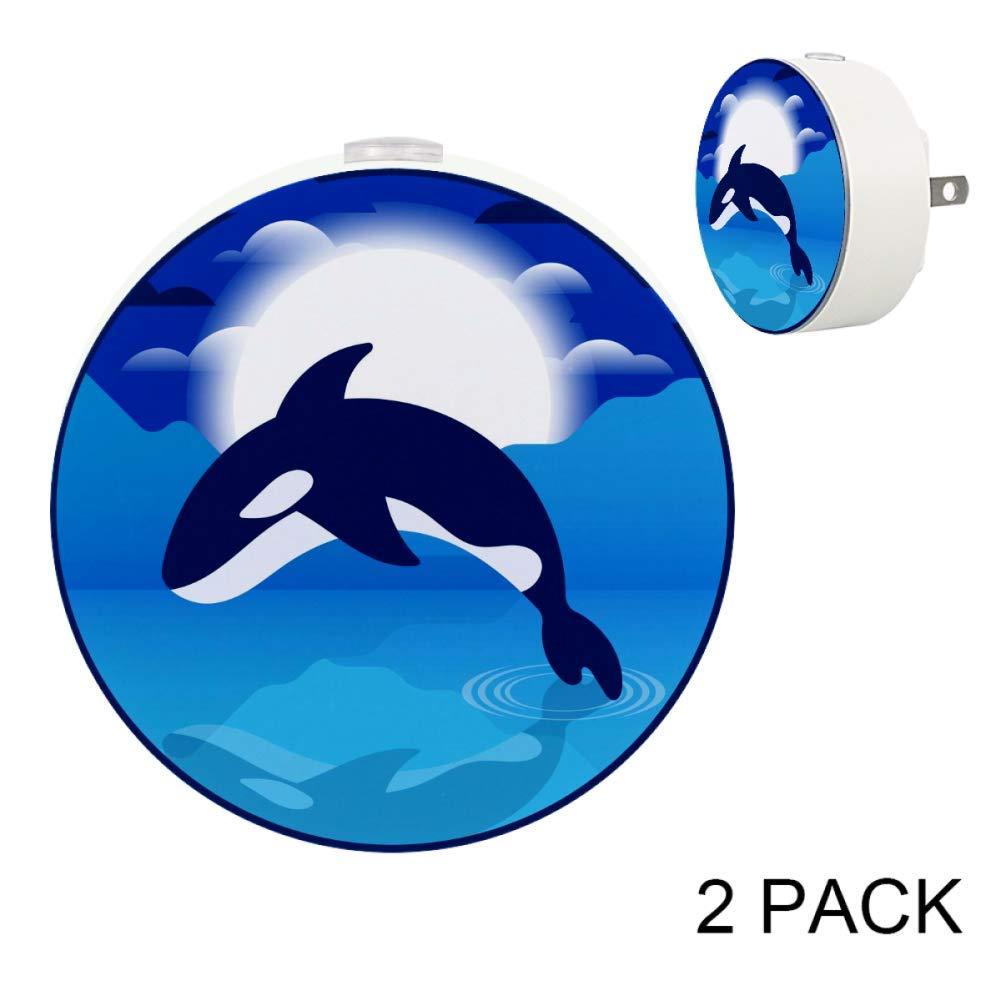 Killer Whales Jumping Moon Plug in LED Night Light Dusk to Dawn Auto On/Off Energy Saving Sensor Lights