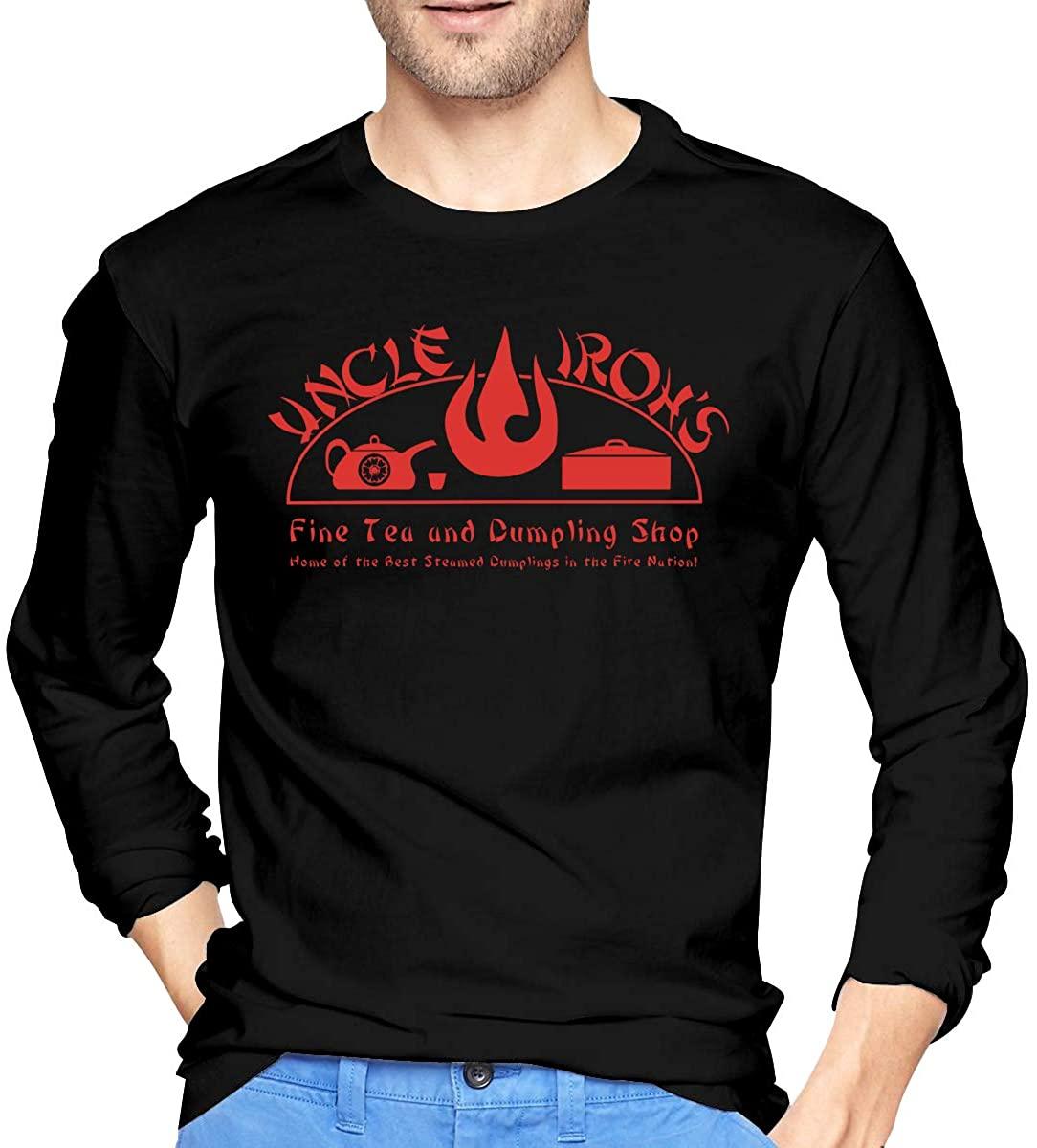 Uncle Iroh's Fine Tea Shop Mans Cotton Long Sleeve T Shirt Flexible Design Round Neck Tees Tops
