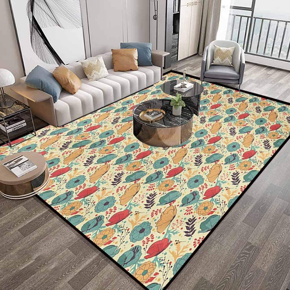 Colorful Soft Bedroom Area Rugs 6X9,Blooming Summer Season Flowers in Doodle Drawing Style Illustration Foliage Leaves,Indoor Comfortable Modern Rugs Carpet with Lock-Edge & Non-Slip Base,Multicolor