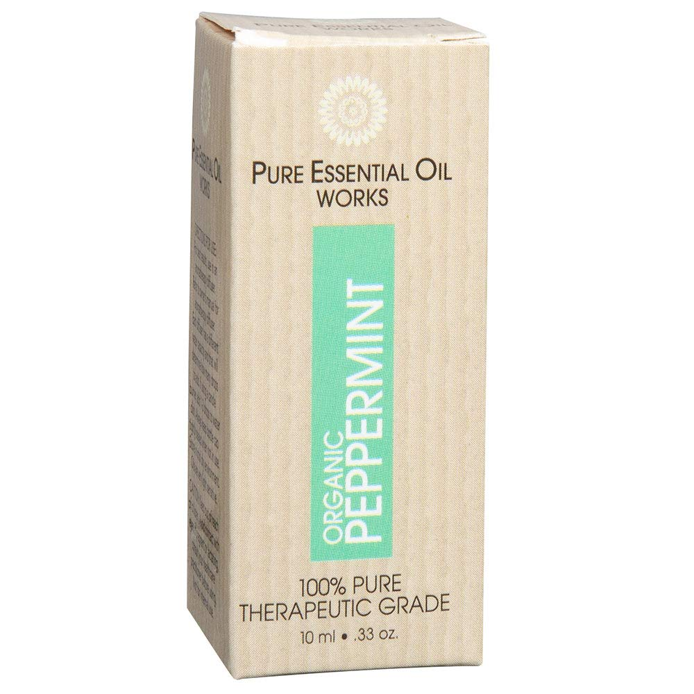 Pure Essential Oil Works Organic Peppermint Oil, 100% Pure, Natural, Paraben-Free, Therapeutic Grade.33 Ounces