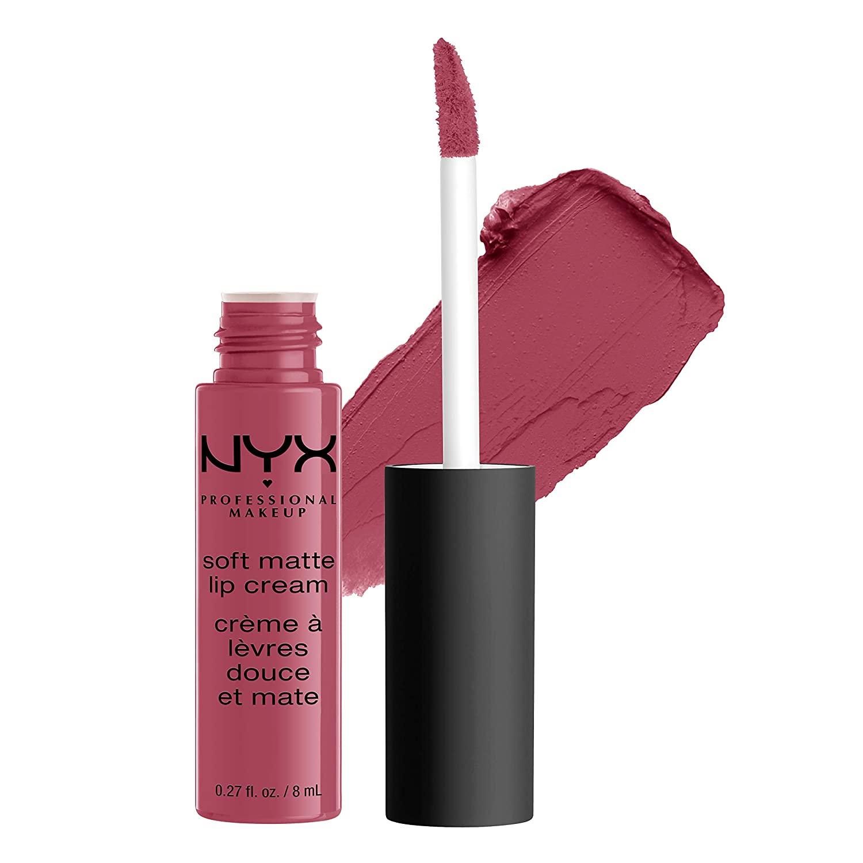 NYX PROFESSIONAL MAKEUP Soft Matte Lip Cream, High-Pigmented Cream Lipstick - Sao Paulo, Bubblegum Pink