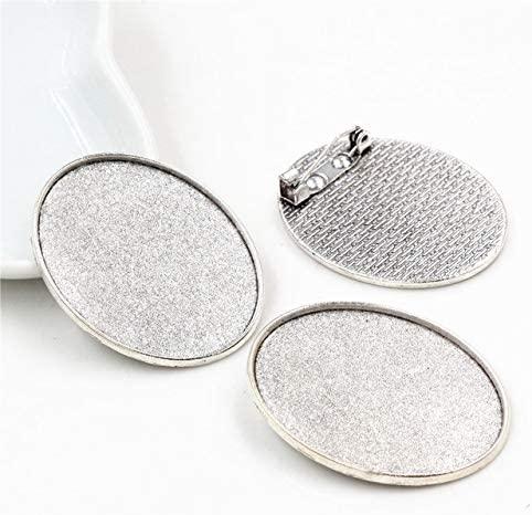 BoKa-Store - Fashion 5pcs 30x40mm Inner Size Antique Silver/Bronze/Black Pin Brooch Simple Style Base Setting Pendant