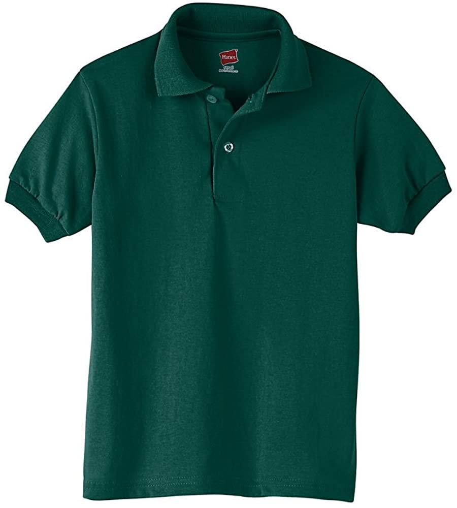 Hanes Youth 5.2 oz; 50/50 ComfortBlendxFFFD; EcoSmartxFFFD; Jersey Knit Polo - DEEP FOREST - M