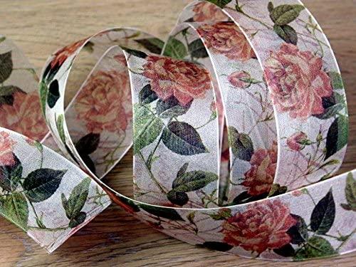 Minerva Crafts 40mm Delicate Floral Print Wired Edge Sheer Organza Ribbon Peach - per metre