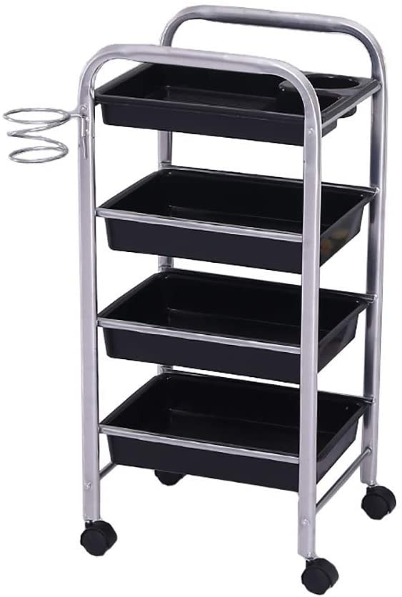 WGEMXC Collecting Vehicles, Cart Tool 4 Tier Beauty Cart with Drawers & Hair Dryer Holder, Hairdresser Spa Rolling Trolley with Wheel, Salon Utility Cart, Silver Color,Recycling Vehicles