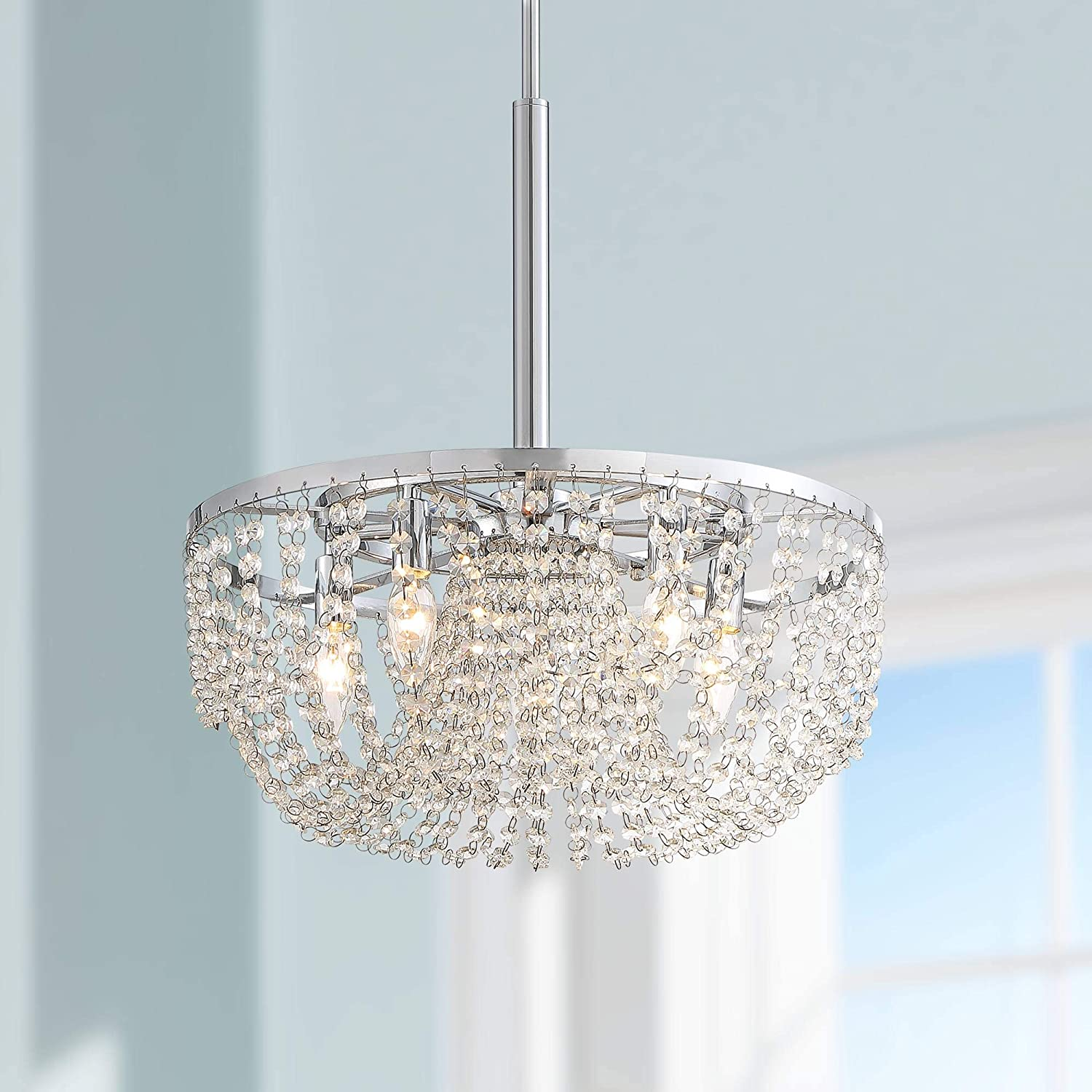 Arden Chrome Pendant Chandelier 18 1/2 Wide Modern Clear K9 Crystal Strands 5-Light Fixture for Dining Room House Foyer Kitchen Island Entryway Bedroom - Vienna Full Spectrum