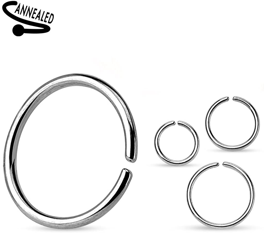 TheCheshireCat (1 Piece) 22g Nose Hoop Annealed and Rounded Ends Ring Surgical Steel