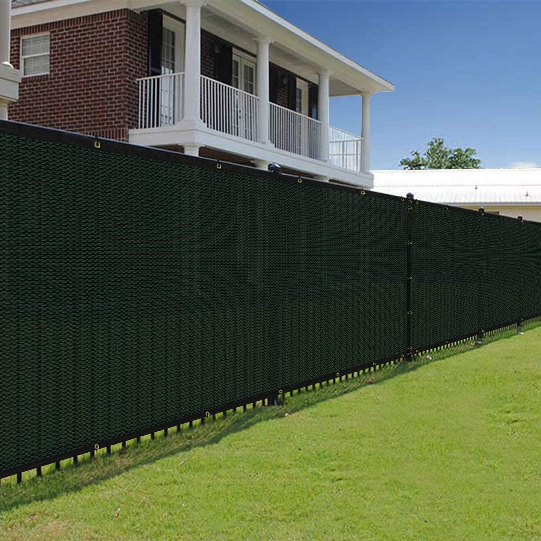 E&K Sunrise 8' x 25' Green Fence Privacy Screen, Commercial Outdoor Backyard Shade Windscreen Mesh Fabric 3 Years Warranty (Customized Set of 1