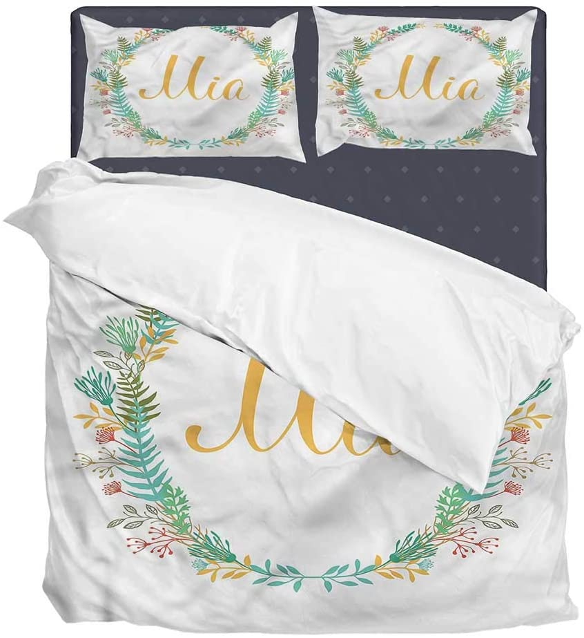 3 Pieces Duvet Cover Set(1 Duvet Cover + 2 Pillowcases) Mia,Frame of Flowers Ferns Super Soft Bedding Bedding with Hidden Zipper Closure 3 Pieces Bedding California King Size Set 104