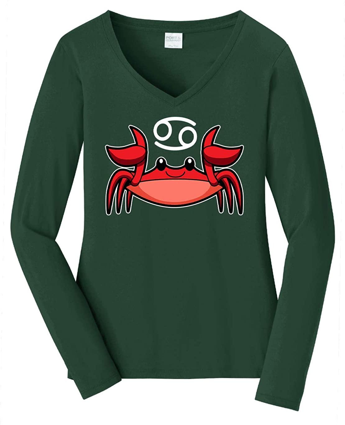 HARD EDGE DESIGN Women's Chibi Cancer Long Sleeve V Neck T-Shirt, Medium, Forest Green