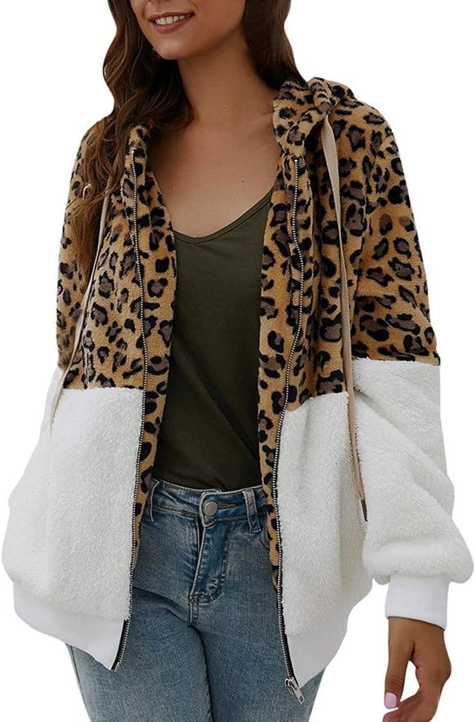 MIS1950s Fashion Womens Zip Up Faux Shearling Shaggy Coat Jacket Leopard Print Patchwork Hoodie Winter Warm Cardigan