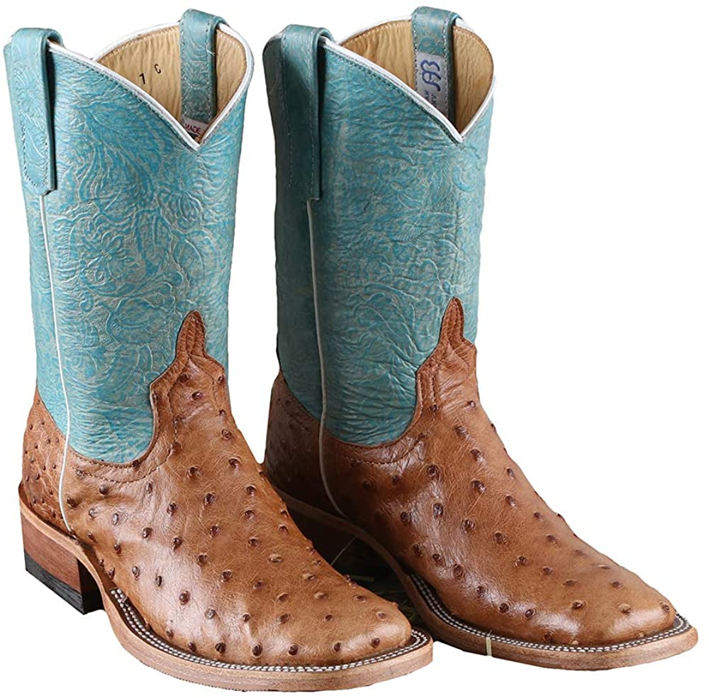 Rod's Cognac Mad Dog Full Quill Ostrich Boots