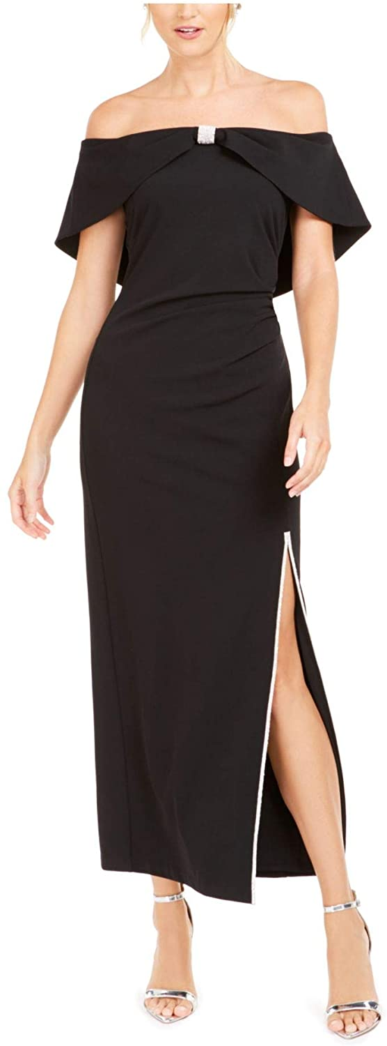 JBS LIMITED Womens Black Slitted Sleeveless Off Shoulder Full-Length Fit + Flare Formal Dress Size 10
