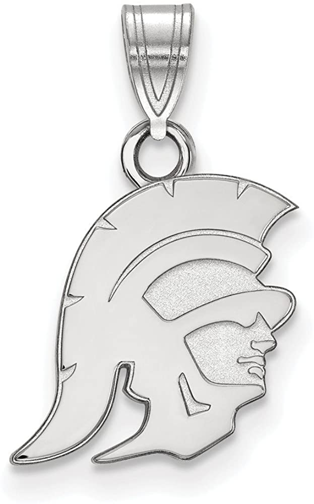 Solid 10k White Gold Official University of Southern California Small Pendant Charm - 19mm x 12mm